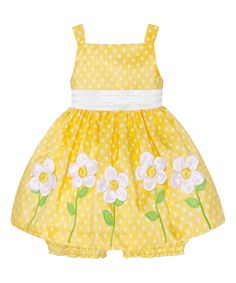 This Yellow & White Polka Dot Flower Dress & Bloomers - Infant by American Princess is perfect! #zulilyfinds