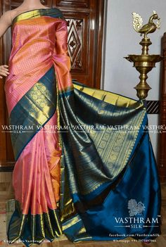 Online shopping from a great selection at Clothing & Accessories Store. Blue Silk Saree, Kanjivaram Sarees Silk, Wedding Silk Saree, Indian Silk Sarees, Kanchipuram Saree, Soft Silk Sarees, South Indian Wedding Saree, Pattu Saree Blouse Designs, Wedding Saree Collection