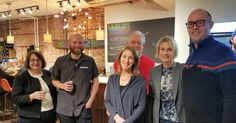 Mary Minn, Ryan Tracy (Beer on the Wall owner), Dick Barton, Martha Burns, Ann Witek, and Alex Barton at the Beer on the Wall Ribbon Cutting.