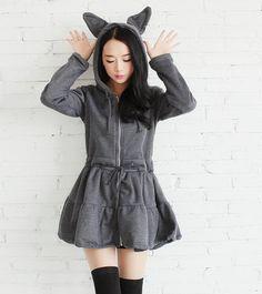 Japanese kawaii rabbit ear fleece dress