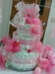 Baby girl diaper cake -all in pink