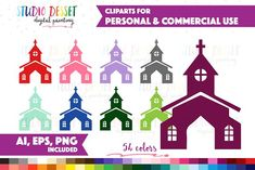 Church Vector Graphics by DreamONprints on @creativemarket