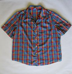 Vintage plaid shirt short sleeve and button by afterglowvintage, $28.00