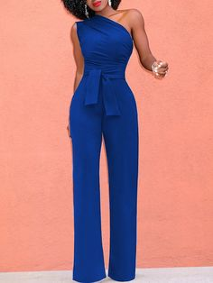 Buy Chicloth One Shoulder Casual Jumpsuit Sleeveless Wide Leg High Waist Solid Rompers,Cheap Womens Casual Pants,Cheap Jumpsuits and Rompers. Jumpsuit Denim, Yellow Jumpsuit, Casual Jumpsuit, Casual Pants, Blue Jumpsuits, Jumpsuits For Women, Overall Jumpsuit, Look Fashion, Fashion Outfits
