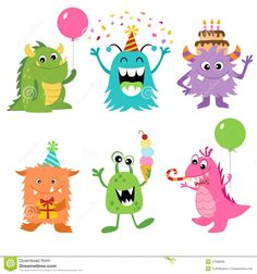 Illustration about Set of cute monsters for your Birthday design. Illustration of balloons, illustration, characters - 47698390 Funny Monsters, Cartoon Monsters, Little Monsters, Halloween Birthday, Cute Halloween, It's Your Birthday, Little Monster Birthday, Monster Birthday Parties, Monster Party