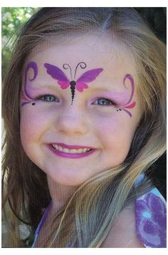 Kids Face Painting Easy, Easy Face Painting Designs, Girl Face Painting, Face Painting Tutorials, Face Paintings, Disney Face Painting, Mermaid Face Paint, Butterfly Face Paint, Butterfly Makeup