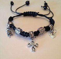 Ladies Macrame Bracelet in black with Silver spacers and cross, heart and bird silver charms Handmade Bracelet #BestofEtsy #Handbag