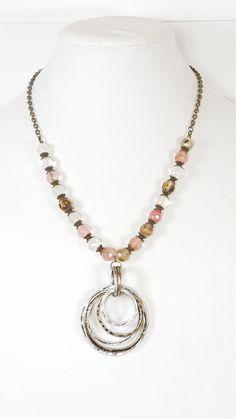 Pink Boho Beaded Necklace | Boho Crystal Jewelry | Beaded Statement Necklace | Chunky Pink Necklace | Unique Pendant Necklace | Gift for Her by bohogypsygal on Etsy