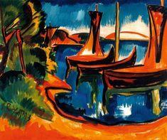 Boote am Wasser - Karl Schmidt-Rottluff Franz Marc, Wassily Kandinsky, Cavalier Bleu, Degenerate Art, Expressionist Artists, Organic Art, Expressions, Art Moderne, Dresden
