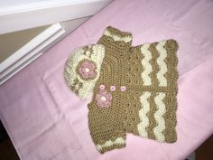 Gold Chevron Sweater Set Baby Crochet Set Gold pink door lisaswick