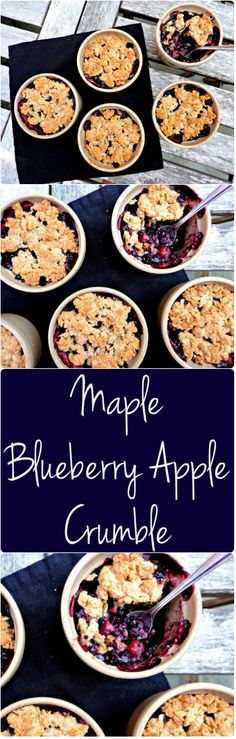 This Flourless Maple Apple Blueberry Crumble is delicious + #VEGAN + GLUTENFREE - an easy and delicious recipe! - Ceara's Kitchen