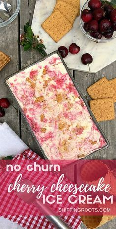 I scream, you scream, we all scream for no churn sour cherry cheesecake ice cream! You'll love this simple homemade ice cream recipe with heavy cream, sweetened condensed milk, and more. #nochurnicecream #summertreats #icecream #cherrycheesecake #sourcherries #cherryrecipe #icecreamrecipe via @shifting_roots