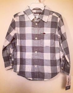 Camisa de botão tecido levemente flanelado menino Carter's