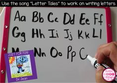 """Using Dr. Jean's """"Letter Tales"""" song is a fun way to practice writing letters"""