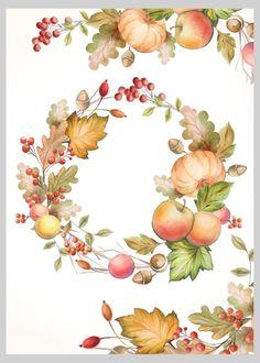 Fall/Autumn - Autumnal Fall Thanksgiving Wreath Alternative - By: Victoria Nelson Wreath Watercolor, Watercolor Flowers, Watercolor Paintings, Autumn Illustration, Watercolor Illustration, Corona Floral, Thanksgiving Wallpaper, Wreath Drawing, Thanksgiving Wreaths