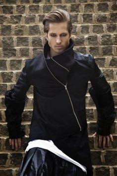 XXl Century. The Future Is Now... men's black asymmetrical zipper jacket