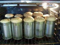 Bread dough in tomato juice cans! Bread In A Can, How To Make Bread, Baking Buns, Bread Baking, Zuchinni Bread, Open Fire Cooking, Biscuit Bread, Homemade Muffins, Fruit Bread