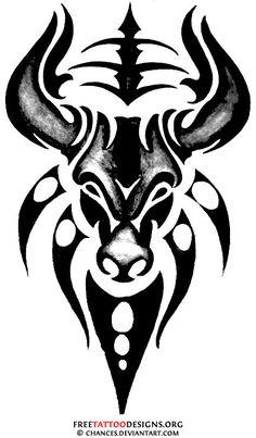 Tribal bull tattoo design