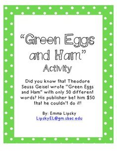 Green Eggs and Ham Activity- FREE for Dr. Seuss's Birthday!