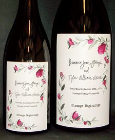 Etched and hand painted large format wine bottle. Reproduce your wedding invitation by Artist, Candice Norcross