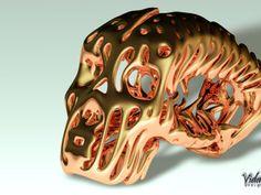 Skull pendant / Gold plated in White Strong & Flexible