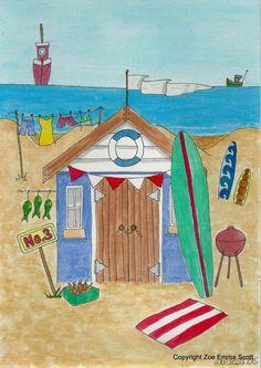 Whimsical Beach Hut Print by Zoe Emma Scott by ZoeEmmaScott Beach Huts Art, Beach Illustration, Seaside Art, Beach Cabana, Cottage Art, Beach Print, Art Abstrait, Watercolor Sketch, Naive Art