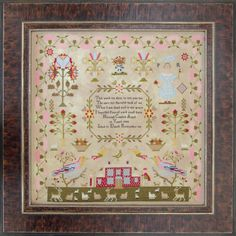 A meandering pink dianthus border surrounds Hannah's sweet pastoral sampler. A grand red brick house nestles between 2 large colourful birds perched atop trees. A shepherd and shepherdess with their Lancashire Heelers stand watch over a pasture full of sheep, lambs and deer. Two trumpeting angels signifying the word of God, hover over the house. Continue reading