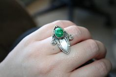 HUGE SALE Vintage BIG Sexy  Ring Malachite  por 911VintageAddiction