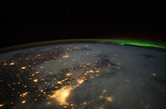 Greater Chicago Metropolitan Area & southwest shore of Lake Michigan (NASA, International Space Station, Nasa Earth Images, The Fresh, Fresh Water, Aurora Borealis From Space, Earth At Night, Nasa Photos, International Space Station, Space Photos, Nocturne