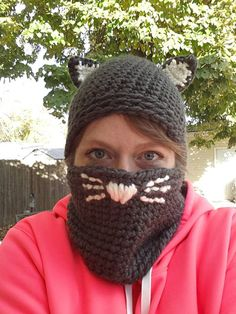 Cammy Cat Hat and Cowl by JensNeedleKnows on Etsy, $30.00