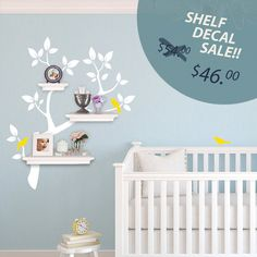 Tree Branch Decal with Birds for Shelves - SALE! - Nursery Storage - Wall Organizer - Tree Wall Decals