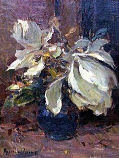 ADRIAAN BOSHOFF 'Magnolia' Oil on canvas on board 37 x 22 cm