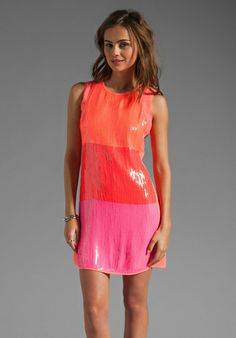 SHOSHANNA Sequin Najia Dress in Neon Peach