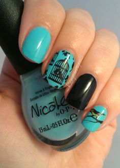 Bird in a cage nail art. Looks amazing!