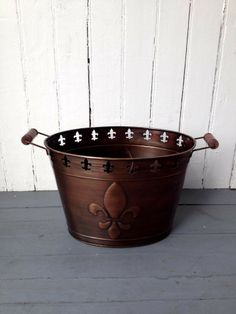 Fleurty Girl - Everything New Orleans - Copper Fleur de Lis Cutout Bucket - For the Home