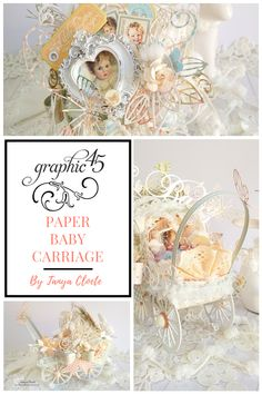 Paper Baby Carriage - - May Challenge By Tanya Cloete Graphic Little Darlings - Deluxe Collector's Edition First Baby Pictures, Pastel Paper, Baby Box, Colour Pallette, Heart Frame, Patterned Sheets, Baby Carriage, Button Flowers, Graphic 45