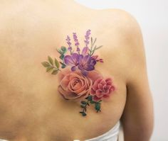 Charming floral back shoulder piece by Joice Wang