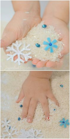Delightfully cold SHIVER Rice from Growing a Jeweled Rose - this snow rice is such a fun way for kids to play in the snow this Winter!