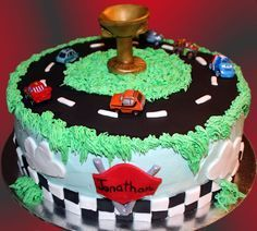 This cake is based on the Pixar movie Cars! This Cars cake is fun to make, and pulls in the race car element along with the Piston Cup! Race Track Cake, Race Car Cakes, 3rd Birthday Cakes, Planes Birthday, Car Birthday, Birthday Parties, Sweet Cakes, Cute Cakes, Carrot Cake Frosting