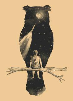 dream, stars, owl