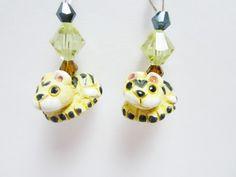 Jaguar Cat Earrings Ceramic Bead Hand Painted Sterling Silver Swarovski Bicone Elements Leopard Animal Earring by WhispySnowAngel on Etsy