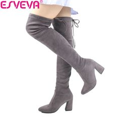 2314d819904 ESVEVA 2017 Women Boots Flock Over The Knee Boots Round Toe Women Boots  Ladies Party Western