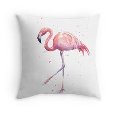Flamingo Watercolor Painting Throw Pillows