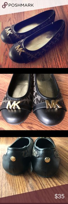 Girls Michael Kors Flats Size 12 little girls Michael Kors flats NWOT. They are so adorable! We bought my daughters size, but when she put them on at home they were too tight :( only worn walking up and down the hallway a few times. Michael Kors Shoes Dress Shoes