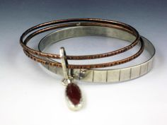 Set of 3 Bangles with Carnelian Charm, mixed metal bangles with charm. charm bangles, set of 3, bangle set, bracelets by MicheleGradyDesigns on Etsy