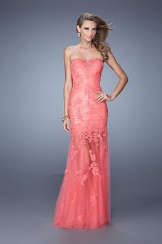 2015 Zipper Tulle Sweetheart Floor Length Salmon Ruched Black Appliques Evening / Formal Dresses By La Femme 20881