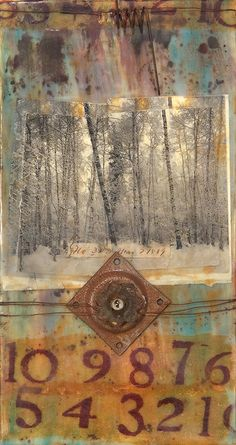 Countdown to Nada    Encaustic, mixed media, metal, light bulb...my social comment on the disappearance of trees