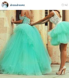 Beautiful dresses for a quinceanera and another beautiful dress for the damas