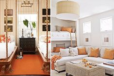 (right pic) Neutral sofa, bright pillows, rattan coffee table, white walls, and that lovely light fixture