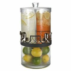 Double Glass Drink Dispenser With Decorative Chamber With Iron Accent